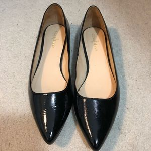 Cole Haan Pointy Toe Patent Leather Flats Black